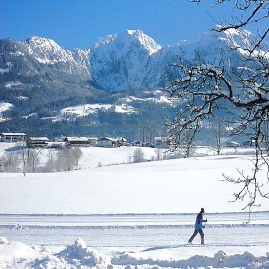Aussicht aus dem Gästehaus Rennerlehen im Winter
