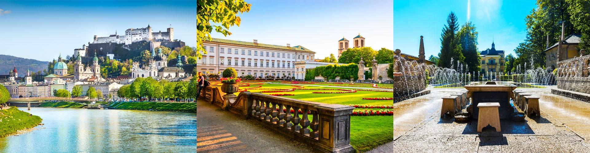 Salzburg Blick auf Festung Hohensalzberg - Schloss Mirabell - Schloss Hellbrunn