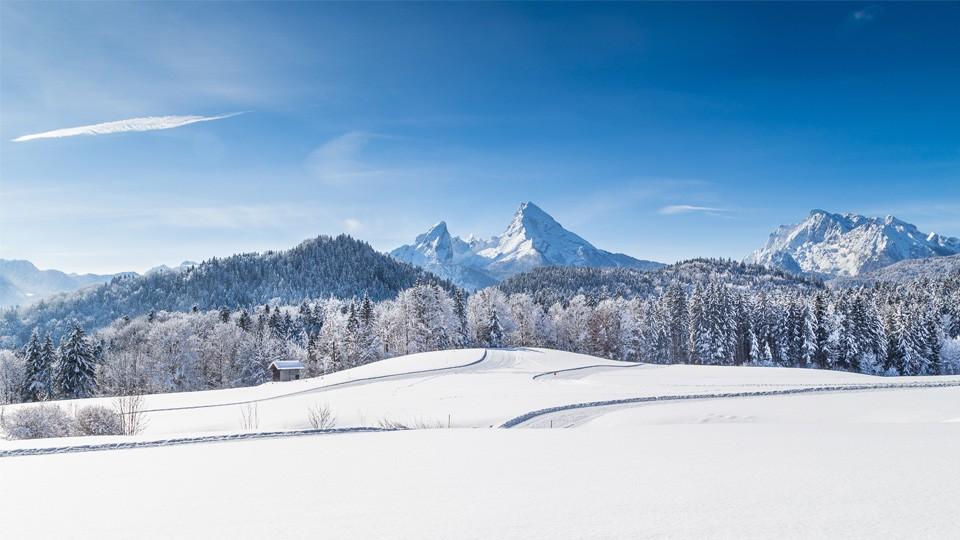 Aussicht auf den Watzmann im Winter