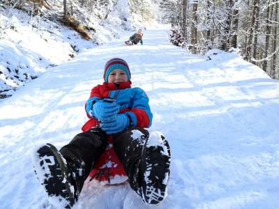 Schlittenfahren - Familienurlaub am Wörndlhof - Hintersee