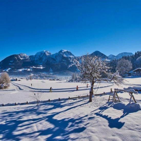 Aussicht im Winter von den Ferienwohnungen Grünsteinblick