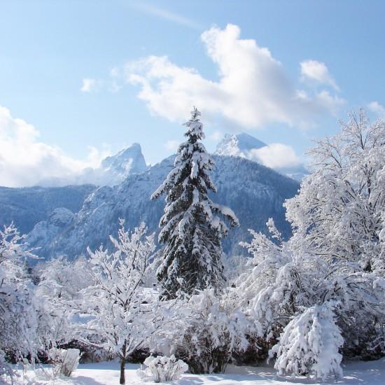 Ausblick auf die verschneite Winterlandschaft vom Hotel Georgenhof